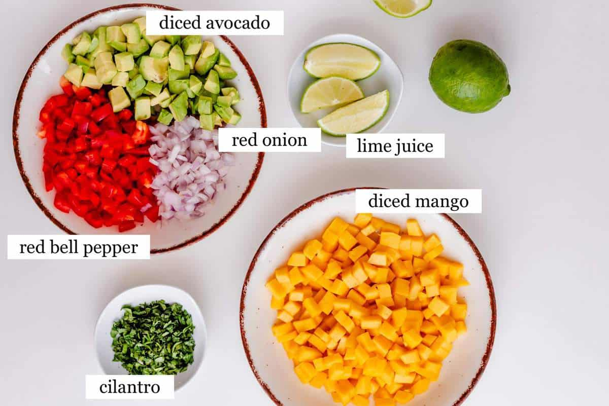The ingredients in mango avocado salsa - laid out and labeled.